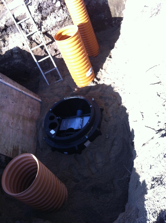 Nedgavning af ny kloak samt en rotte fælde