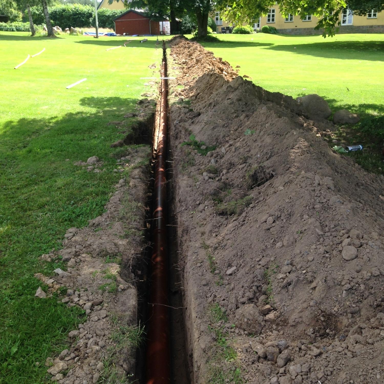 Nedgravning af rør til markdræn